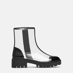 ZARA Vinyl track sole ankle boots
